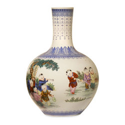 China Furniture and Arts - Hand-Painted Porcelain Temple Vase - This porcelain temple vase with colorful children figures and trees represents happiness and harmony in Chinese culture. In olden times, tall vases like this was an essential decoration item in a Chinese living room. Display it on a console table or niche where it is sure to be admired for its beauty. This is one-of-a-kind item to collect.