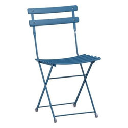 Pronto Blue Folding Bistro Chair - Oh golly, this is my bistro chair crush. I never got over these, and they are so inexpensive. They're even weather resistant, which is almost too good to be true.