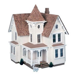 Greenleaf Fairfield Dollhouse Kit - 1/2 Inch Scale - Bring home the beauty of the Victorian era with the Greenleaf Fairfield Dollhouse Kit - 1/2 Inch Scale. Small in stature yet big on style this stately gem is fitted with a wealth of classic details such as a wrap-around porch with charming pillars and a regal tower chamber. Convenient access through the back reveals two spacious hallways six sizeable rooms and an attic with delicate detailed windows to observe the world outside. Complete the look with your choice of paint colors for a personalized and picture-perfect dollhouse you'll cherish for years! This dollhouse comes unassembled; approximate assembly time is 10 hours. It comes unfinished and ready to stain or paint (paint and stain not included). About GreenleafEstablished in 1947 Greenleaf Steel Rule Die Corp is a leading manufacturer of all-wood dollhouse kits furnishings and accessories. Located in Schenevus N.Y. Greenleaf is acknowledged by many in the miniatures industry for its outstanding design and superior quality. Greenleaf wooden dollhouse kits are an ideal project for collectors or families who want to create lasting keepsakes.