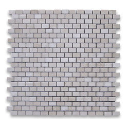 "Stone Center Corp - Spanish Crema Marfil Marble Mini Brick Mosaic Tile 5/8x3/4 Polished - Crema Marfil Marble 5/8x3/4"" brick pieces mounted on 12x12"" sturdy mesh tile sheet"
