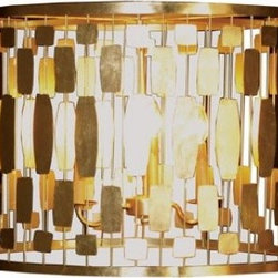 Leona Gold Silver Leaf Chandelier by Worlds Away - This delicate drum-shaped chandelier shade comes in silver or gold and surrounds a more traditional chandelier. Its style stretches from Art Deco to Hollywood Regency, and also fits in well with a room that's a bit more groovy retro modern.