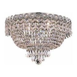 Elegant Lighting - Elegant Lighting 1900F16C Century 4-Light, Single-Tier Flush Mount Crystal Chand - Elegant Lighting 1900F16C Century 4-Light, Single-Tier Flush Mount Crystal Chandelier, Finished in Chrome with Clear CrystalsElegant Lighting 1900F16C Features: