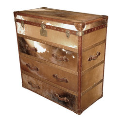 Kathy Kuo Home - Ampleforth Modern Rustic Tall Hair On Hide Leather Dresser - Celebrate your inner cowboy with this rustic hair on hide leather dresser, with classic brass button accents. This ultramasculine piece will set a rugged tone for your decor, and is incredibly well made to boot.