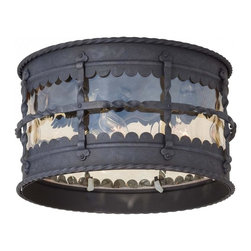 Minka-Lavery - Minka-Lavery Mallorca 3-Light Outdoor Flush Mount - 8889-A39 - This 3-Light Cage Flush Mount has a Black Finish and is part of the Mallorca Collection.