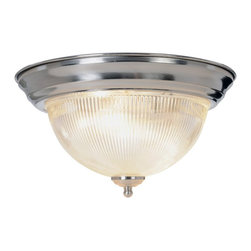 Premier - Halophane Dome 13 inch Ceiling Fixture - Brushed Nickel - Premier 558731 Halophane Dome Ceiling Fixture, Brushed Nickel, 13in. D.