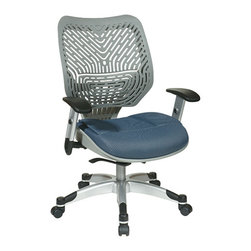 Office Star - Space Seating 86 REVV Series Unique Self Adjusting Fog SpaceFlex Back & Raven Me - Unique Self Adjusting Fog SpaceFlex  Back Managers Chair. Self adjusting SpaceFlex  Backrest Support System with Breathable Blue Mist Mesh Seat, One Touch Pneumatic Seat Height Adjustment, Self Adjusting 4 to 1 Synchro Tilt Control with 3 Position Lock and Anti-Kick Function, Tilt Tension Adjustment, Height Adjustable Platinum Coated Arms with Soft PU Pads, Heavy Duty Platinum Coated Base with Black End Caps and Dual Wheel Carpet Casters.