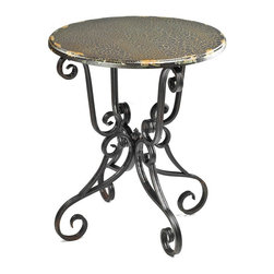Safavieh - Safavieh Taylor Side Table with Scroll Base X-A8104HMA - Masterful iron scrollwork creates a fanciful base for the Taylor side table, with contrasting round top in birch wood veneer with dark Java crackle finish. Use this romantic piece in bedroom or living room in both formal and country interiors.