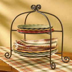 Cottage Style Plate Stand - Scrolled iron plate rack with footed detail is both stylish and functional. Pair it up with the cottage style mug rack for decorative tableware presentation.