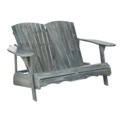 Hantom Adirondack Bench - The Hantom Adirondack Bench is just right for sitting out on the porch with a companion and watching the world go by. Both designed in and named for the recreational mountains in New York, Adirondack chairs have a low angled seat with high wide armrests that are perfect for sinking into and relaxing. And the Hantom Adirondack Bench doubles this structure to give you and another lounger individual seats, each with a contoured back and front. Whereas the original design for this style of chair was constructed with hemlock wood, this version boasts attractive and sustainable acacia wood that is as environmentally conscientious as the beautiful natural setting and crisp mountain air that inspired the style. Available either in an Ash Gray or natural light wood finish or in a white paint, this bench easily compliments any porch or yard.About SafaviehConsidered the authority on fine quality, craftsmanship, and style since their inception in 1914, Safavieh is most successful in the home furnishings industry thanks to their talent for combining high tech with high touch. For four generations, the family behind the Safavieh brand has dedicated its talents and resources to providing uncompromising quality. They hold the durability, beauty, and artistry of their handmade rugs, well-crafted furniture, and decorative accents in the highest regard. That's why they focus their efforts on developing the highest quality products to suit the broadest range of budgets. Their mission is perpetuate the interior furnishings craft and lead with innovation while preserving centuries-old traditions in categories from antique reproductions to fashion-forward contemporary trends.