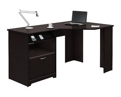 "Bush - Bush Cabot Corner Computer Desk in Espresso Oak - Bush - Computer Desks - WC3181503 - The Bush Cabot Collection Corner Desk is the perfect solution for the tech-savvy office. The desk is designed to offer a wide-open 60"" of work space with everything you'll need to stay connected and clutter-free, including a charging station, an open cubby that doubles as a bookshelf or modem storage area, a filing drawer, and wire management system. Designed for years of use, the Cabot Corner Desk features full-extension ball-bearing drawer slides and a beautiful, durable Espresso Oak finish."