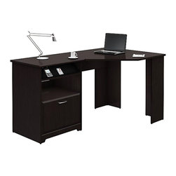 "Bush - Bush Cabot Corner Computer Desk in Espresso Oak - Bush - Computer Desks - WC3181503 - The Bush Cabot Collection Corner Desk is the perfect solution for the tech-savvy office. The desk is designed to offer a wide-open 60"""" of work space with everything you'll need to stay connected and clutter-free including a charging station an open cubby that doubles as a bookshelf or modem storage area a filing drawer and wire management system. Designed for years of use the Cabot Corner Desk features full-extension ball-bearing drawer slides and a beautiful durable Espresso Oak finish. Features:"