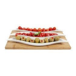 4-Pc. Ceramic Pods Serving Platter - When I dip, you dip, we dip � and that's because we're all seduced by this 3-piece Ceramic Pods Serving Platter. Curved ceramic platters can hold candy, chips, nuts, and vegetables, and an attractive 100% bamboo tray lends the set an organic touch.