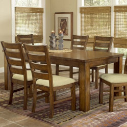 Hillsdale Hemstead Wood Dining Table with 18 in. Leaf - Dark Oak