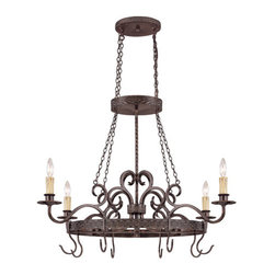 Jeremiah by Craftmade - Brookshire Manor Burnished Armor Four Light Pot Rack with Hooks - 23634-BA: BROOKSHIRE MANO;  - Glass Finish: N/A Jeremiah by Craftmade - 23634-BA