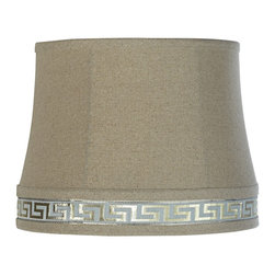"""Lamps Plus - Contemporary Greek Key Tan Linen Gold Drum Shade 11x13x10 (Spider) - Refresh your home decor with this sophisticated tan linen drum shade with an elegant Greek key design in ice blue and gold. It features tan lining and a polished brass finish spider fitter. The correct size harp is included free with this shade. Tan linen blend. Tan liner. Greek key design trim with gold metallic thread. Round drum shade. Polished brass finish spider fitter. 11"""" across the top. 13"""" across the bottom. 10"""" high. 10"""" on the slant.  Tan linen blend.  Tan liner.  Greek key design trim with gold metallic thread.  Round drum shade.  Polished brass finish spider fitter.  11"""" across the top.  13"""" across the bottom.  10"""" high.  10"""" on the slant."""