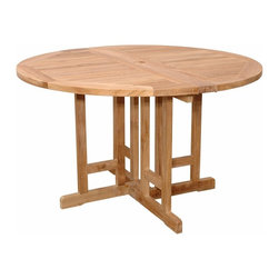 """Anderson Teak - Butterfly 47"""" Round Folding Table - This Butterfly Folding Table features of 47"""" Round is very convenience and practical for any occasion. It is perfect for boating, restaurant, and caf_ where space is limited or the chairs are only required occasionally. Can be fold 1/2 round, fold completely or open in full round size."""