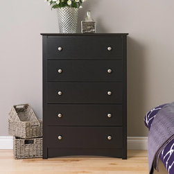 None - Broadway Black 5-drawer Chest - Get back to basics with the Broadway 5 Drawer Chest. This modern twist on the classic bedroom piece accommodates five drawers' worth of your clothing.It's a great choice for those who want furniture with both contemporary looks and huge storage potential.