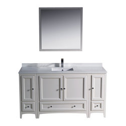 "Fresca - 60 Inch Single Sink Bathroom Vanity in Antique White, Antique White - Blending clean lines with classic wood, the Fresca Oxford Traditional Bathroom Vanity is a must-have for modern and traditional bathrooms alike. The vanity frame itself features solid wood in a stunning antique white finish that's sure to stand out in any bathroom and match all interiors. Available in many different finishes and configurations.  Dimensions: 60""W X 20.38""D X 32.63""H (Tolerance: +/- 1/2""); Counter Top: White Quartz Stone; Finish: Antique White; Features: 4 Doors, 3 Drawers; Soft Close Hinges; Hardware: Chrome; Sink(s): 16.25"" X 11.5"" X 6.5"" Undermount White Ceramic Sink; Faucet: Pre-Drilled for Standard Single Hole Faucet (Included); Assembly: Light Assembly Required; Large Cut Out in Back for Plumbing; Included: Cabinet, Sink, Choice of Faucet with Drain and Installation Hardware, Mirror (31.88""W X 31.88""H); Not Included: Backsplash"