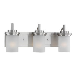 "Sea Gull Lighting - Sea Gull Lighting 44662-962 Brushed Nickel Winnetka Three Light Wall - Three Light Wall Mount Bathroom Fixture from the Winnetka CollectionNo other company can match Sea Gull Lighting s record for producing decorative and functional lighting and ceiling fan products that influence the marketplace. Their brands are asked for by name, known for their quality and trusted by professional electricians, homebuilders, architects, specifiers and consumers to be the best.Mission inspired design that is reflective of geometric shape and clean lines; no unnecessary ornamentation needed.The sweeping curves lend a modern note.Features beautiful satin etched glass.Overall Dimensions: 23"" Wide x 9-1/4"" High x 8-1/2"" DeepBackplate Measurements: 5-3/8"" High x 22-1/2"" Wide x 1-3/8"" DeepCan be mounted Up or Down.Bulbs Required: 3 - Medium A - Line 100w max 120v - Not included"