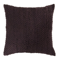 "Surya - Square Cotton Pillow P-0277 - 22"" x 22"" - This solid textural pillow gives your space a fun, new look. The color aubergine accents this decorative pillow. This pillow contains a poly fill and a zipper closure. Add this pillow to your collection today."
