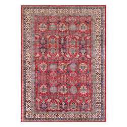 Rugsville - Rugsville  Kazak Red Ivory Wool 16520-78105 Rug 7.8x10.5 - Our Super Kazak collection carries some of the finest pieces weaved in the Orient! These Kazaks are a modern shape