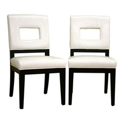 Baxton Studio Faustino White Leather Dining Chair Set of 2