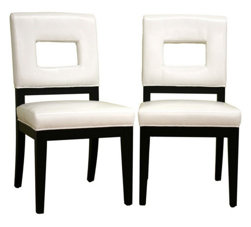 Baxton Studio - Baxton Studio Faustino White Leather Dining Chair Set of 2 - Drawing inspiration from geometry, this contemporary leather chair