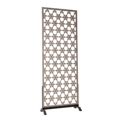 """Arteriors - Arteriors Clarksdale Openwork Carved Wood/Iron Screen by Barry Dixon - An eclectic carved form by designer Barry Dixon lends the Arteriors Clarksdale Openwork screen mesmerizing texture. Mixing wood and iron, the divider exudes both rustic and chic appeal. 40""""W x 17""""D x 107""""H; Weathered lime oak; Black iron base"""