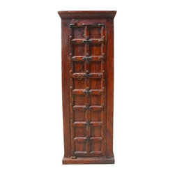 Narrow Wood Storage Cabinet Closet Bedroom Furniture - Attractive Wooden Corner Cabinet with two large shelves inside the cabinet.