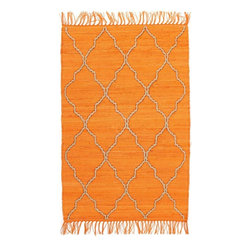 Homespice Décor - 2' x 3' Trellis Citrus - Citrus is a soft orange accented with hand-loomed jute.  Vacuum. Hand wash in cold water. Use Only bleach free detergents