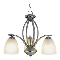 Premier - Three Light Incandescent 22 inch Chandelier - Brushed Nickel - Brighten your dining area or foyer with a contemporary chandelier in a modern brushed nickel finish.