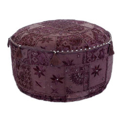 Nuloom - nuLOOM Handmade Casual Living Indian Round Purple Pouf - Gorgeous patches of colorful intricate fabrics create this stylish pouf. Detailed stitching and a Bohemian elegance that adds a trendy addition to your home.