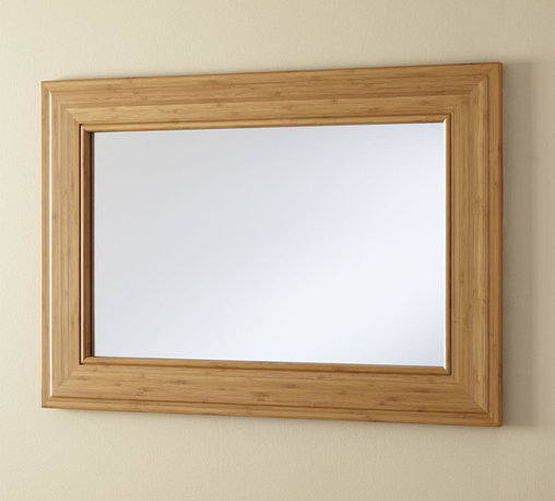 """29"""" Horizontal Portola Bamboo Vanity Mirror - This 29"""" Horizontal Portola Bamboo Vanity Mirror is a trend setting, modern piece. This beautiful addition to your bathroom is framed in bamboo, an environmentally friendly material."""