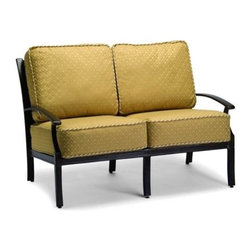 Woodard - Sutherland Cushion Loveseat - Slat Back - All products are made to order. Orders cannot be cancelled after 5 calendar days. If order is cancelled after 5 calendar days, a 50% restocking fee will be applied. Aluminum frame. Sutherland Cushion. Seat Height: 18 in. H. 36.5 in. D x 53 in. W x 34.5 in. H
