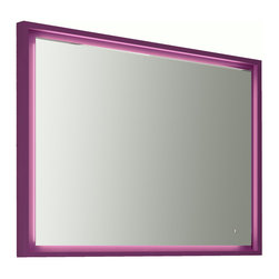 """Napoli 39""""1/4 LED mirror with tactil switch. Aubergine. - Napoli LED mirror 39""""1/4. Aubergine gloss"""