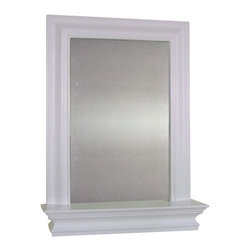 None - Kingston Wall Mirror with Shelf - Expand your bathroom storage with this spacious and stylish wall cabinet with mirror from Kingston. The clean white finish and elegant satin nickel finished hardware complement fine detailing, like crown molding and a perfect little shelf.