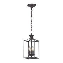 Sterling Industries - Arthur 3 Light Pendant in Aged Bronze - Arthur-Rustic Iron Lantern by Sterling Industries