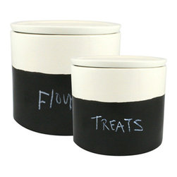 Contemporary Ceramic Jars - Set of 2 - For the wonderfully fickle-minded, you'll no longer worry about committing to what you put in your jars. Place whatever bulk ingredient you please in these handmade matte white ceramic jars, and label the chalk surface. With air-tight seals, everything you store will remain super fresh. And when you change your mind and want to fill the jars with something else, simply empty, erase, and start all over again.