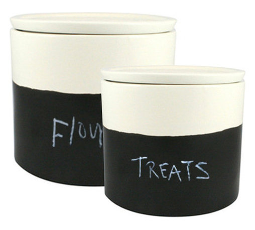 Inova Team -Contemporary Ceramic Jars - Set of 2 - For the wonderfully fickle-minded, you'll no longer worry about committing to what you put in your jars. Place whatever bulk ingredient you please in these handmade matte white ceramic jars, and label the chalk surface. With air-tight seals, everything you store will remain super fresh. And when you change your mind and want to fill the jars with something else, simply empty, erase, and start all over again.