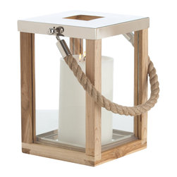 Kathy Kuo Home - Tate Coastal Beach Jute Rope Handle Wood Steel Silver Candle Lantern- Small - Perfect for beach homes, this rope-handled lantern has all the spare, no-nonsense attitude we love about nautical style. And it looks great! For any space where relaxation is a priority, this is a clear winner.