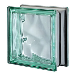 Seves Glass Block - Pegasus Metalized Wavy Glass Block, Green - Ideal for striking interiors and exteriors, Pegasus Metalized is available in smooth and wavy designs with a rich variety of colors. The combination of two exclusive Seves technologies, including actual metalization, gives Pegasus Metalized block its special brightness, lightness and luminosity.