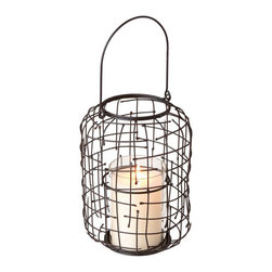 Wire Weave Candle Lantern - Indoors or out, this unique candle lantern is one of those small accent pieces that will help fully bring together a space. Hang the lantern from a wall with a nail, place on a dresser, or right by your bedside, the warm candlelight will disperse and collect an overall warmth to your space.