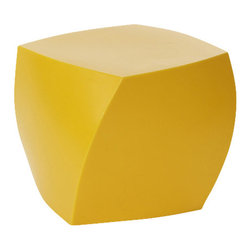 Heller - Frank Gehry Color Cube, Yellow - Candy-colored and just as much fun, these twisted cubes of molded plastic are just what you need to brighten up your den, patio or playroom. About 17 inches high, each would make a great stool or side table, or put several around your pool as fun and functional sculptures.