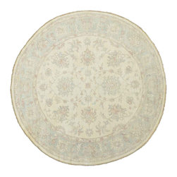 1800-Get-A-Rug - Oriental Rug Round Washed Out Peshawar Hand Knotted Rug Sh11935 - About Oushak and Ziegler Mahal