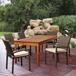 Amazonia - Adriana 7-piece Eucalyptus and Wicker Outdoor Dining Set - The Adriana seven-piece outdoor patio set offers transitional styling and a functional design that is sure to enliven any space. Enjoy your patio in comfort with this alluring dining set,which includes a durable eucalyptus wood construction.