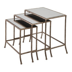 """IMAX - Cayden Accent Tables - Set of 3 - Three ready for company: A trio of, leggy, mirror-topped metal nesting tables are dressed for the party in an aged gold finish. Dimensions:(17.5-19.5-21.5""""h x 19.5-21.25-23.25""""w x 9.75-11.7)"""