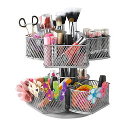 Nifty - Cosmetic Organizing Carousel - Silver - The Nifty cosmetic organizing carousel is an elegant way to organize your cosmetics and vanity. The lazy susan base rotates 360 degrees, which makes finding each of your cosmetic products extremely easy. The cosmetic organizer will hold each of your cosmetic accessories from the larger sized brushes to the smaller hard to find bobby pins and hair pieces. The cosmetic organizer's space saving design takes up very little of your precious counter space, while holding all of your beauty products.