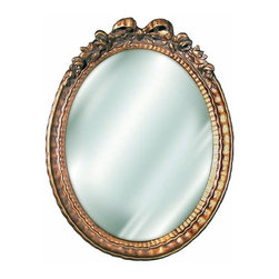 Hickory Manor House - Oval Bow Beveled Mirror in Antique Gold Finis - Vintage original. Custom made by artisans unfortunately no returns allowed. Enhance your decor with this graceful mirror. Made in the USA. Made of pecan shell resin. 9.5 in. W x 12 in. H (5 lbs.)