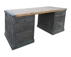 NOIR - NOIR Furniture - Hammered Zinc Desk with Old Wood Top - The industrial aesthetic of Noir's statement-making desk is not to be ignored. Detailed with nailheads and created from hammered zinc and old wood, this timeless furnishing offers an office six drawers of chic storage.