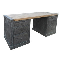 NOIR - NOIR Furniture Hammered Zinc Desk With Old Wood Top - The industrial aesthetic of Noir's statement-making desk is not to be ignored. Detailed with nailheads and created from hammered zinc and old wood, this timeless furnishing offers an office six drawers of chic storage.